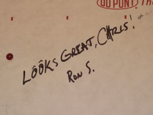 a compliment written on the house wrap